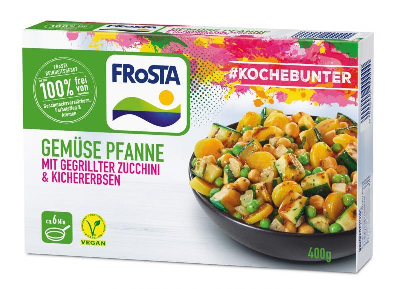 Frosta #Kochebunter Gemüse Pfanne mit gegrillter Zucchini & Kichererbsen