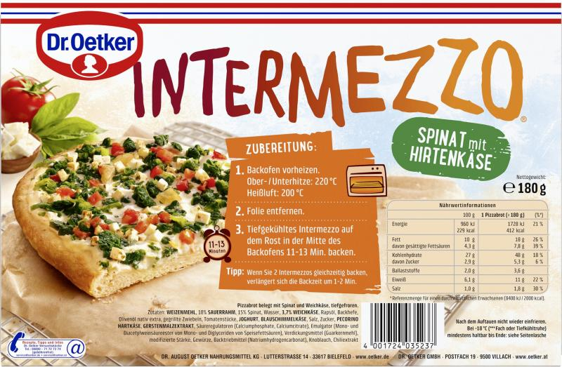 Dr. Oetker Intermezzo Spinat mit Hirtenkäse