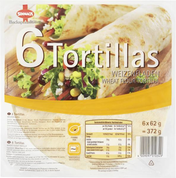 Sinnack 6 Tortillas Weizenfladen