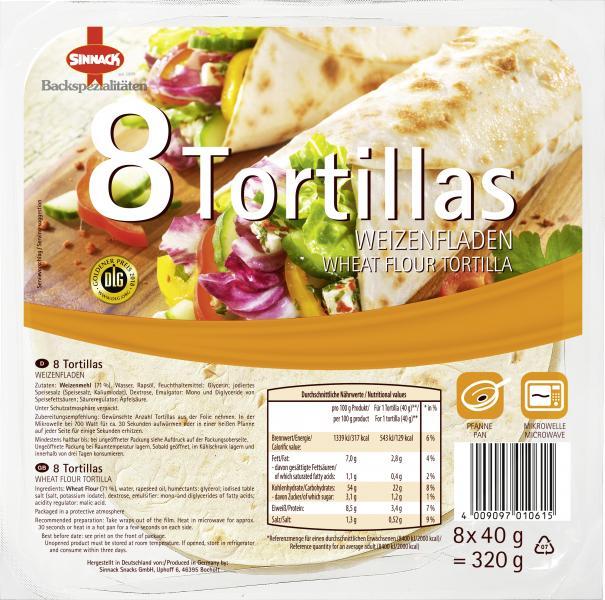 Sinnack 8 Tortillas Weizenfladen