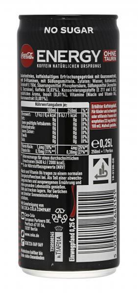 Coca-Cola Energy Null Zucker (Einweg)