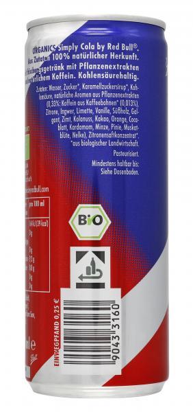 Red Bull Organics Simply Cola Einweg