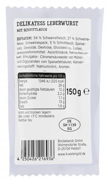 Küstengold Delikatess Leberwurst mit Schnittlauch