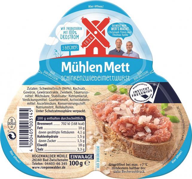Rügenwalder Mühle Mühlen Mett Schinkenzwiebelmettwurst
