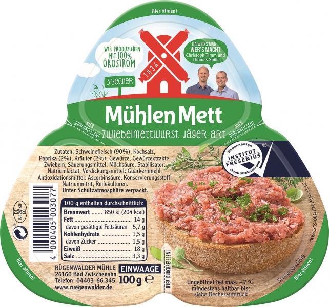Rügenwalder Mühle Mühlen Mett Zwiebelmettwurst Jäger Art