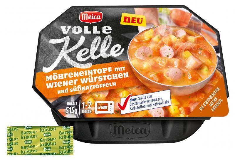 Meica Volle Kelle Möhreneintopf mit Wiener Würstchen und Süßkartoffeln