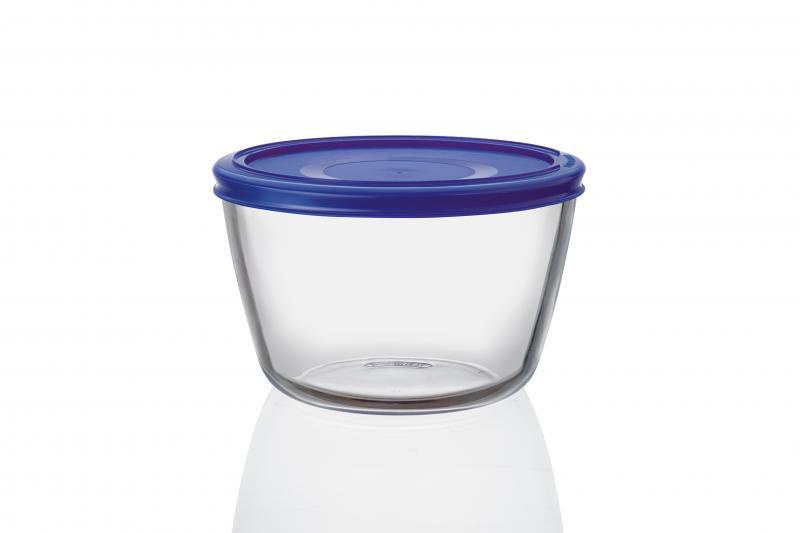 Pyrex Glasbehälter rund 1,1 Liter blau