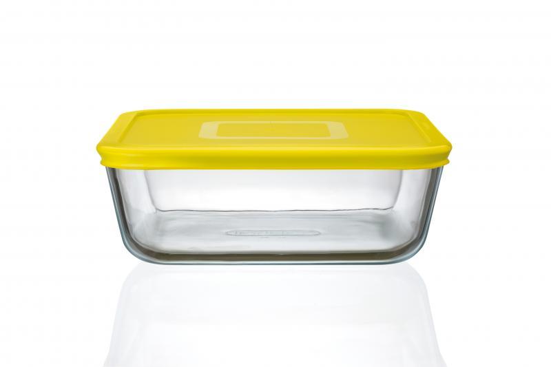 Pyrex Glasbehälter quadratisch 2 Liter gelb