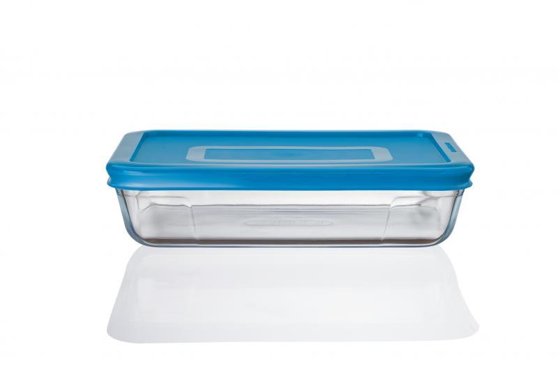 Pyrex Glasbehälter rechteckig 0,8 Liter türkis