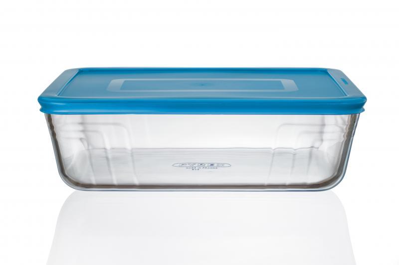 Pyrex Glasbehälter rechteckig 2,6 Liter türkis