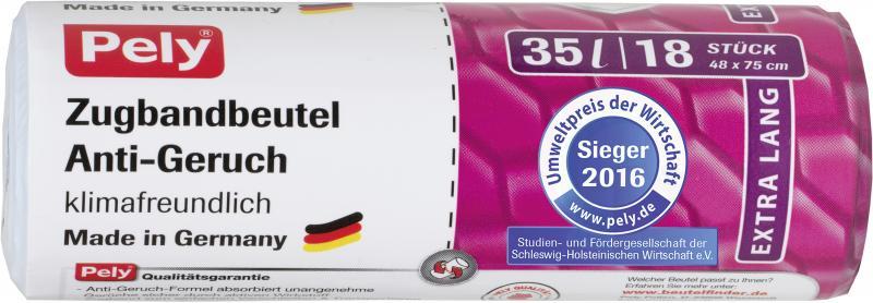Pely Zugband-Müllbeutel Anti Geruch extra lang 35 Liter