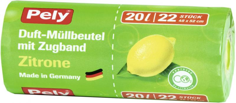 Pely Zugband-Müllbeutel mit Duft Zitrone 20 Liter