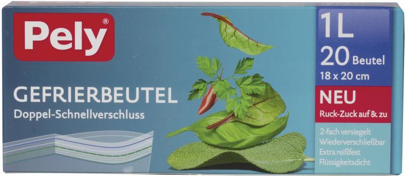 Pely Gefrierbeutel Doppel-Schnell-Verschluss 1 Liter