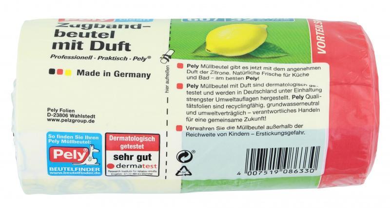 Pely Zugband-Müllbeutel mit Duft Zitrone 60 Liter