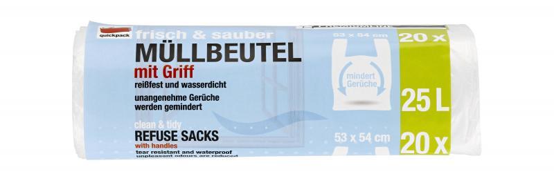 Quickpack Müllbeutel 25 Liter Premiumline mit Griff