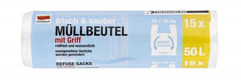 Quickpack Müllbeutel 50 Liter Premiumline mit Griff