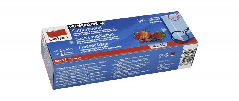 Quickpack Gefrierbeutel 1 Liter Premiumline mit Standboden