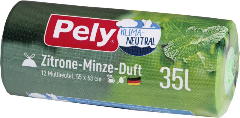 Pely Zugband-Müllbeutel 35 Liter Zitrone-Minze-Duft