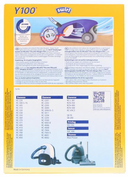 Swirl Staubfilterbeutel Y100 MicroPor