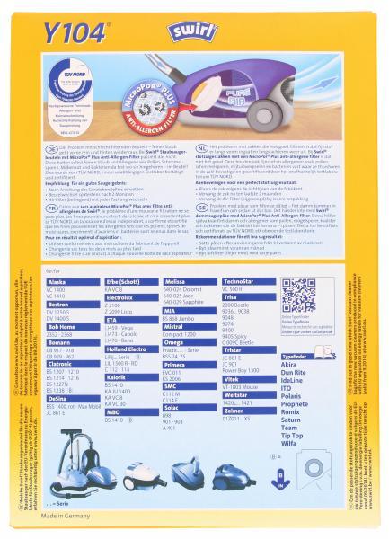 Swirl Staubfilterbeutel Y104 MicroPor