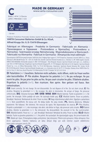 Varta Longlife Alkaline C Baby 1,5V