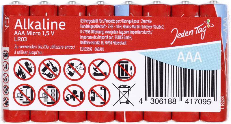 Jeden Tag Alkaline AAA Micro 1,5V LR03