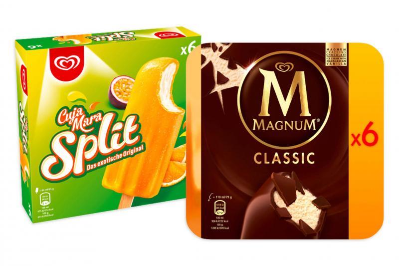 Set: Große Eisbox mit Cuja Mara Split 36 Stk. und Magnum Classic 48 Stk.