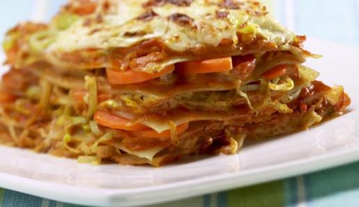 Möhren-Lauch-Lasagne