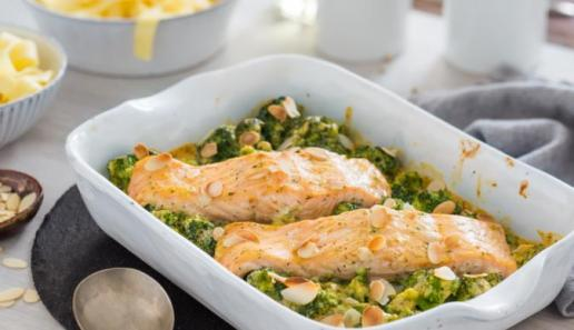 Broccoli-Lachs-Gratin