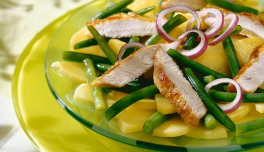 Kartoffel-Bohnen-Salat mit Putenbruststreifen