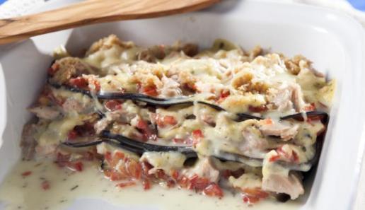 Auberginen-Lasagne mit Thunfisch